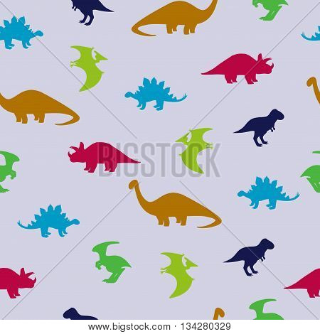 Cute dinosaurs seamless pattern. Vector background with dinosaurs silhouettes.