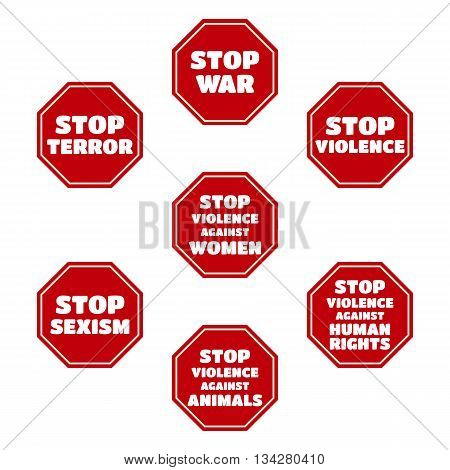 vector set of Stop Terror War Sexism Violence against Women Human Rights Animals. Red symbols isolated on white background