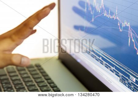 businessman and stock market graph and bar chart price display ,Businessman failure in stock market