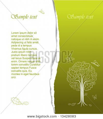 Vintage abstract tree drawing with place for your text - nice spring card (vector)