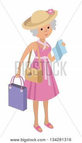 Illustration of elderly woman on shopping isolated on white background. Senior woman tourist. Illustration of senior woman with a photo camera and map in flat style.