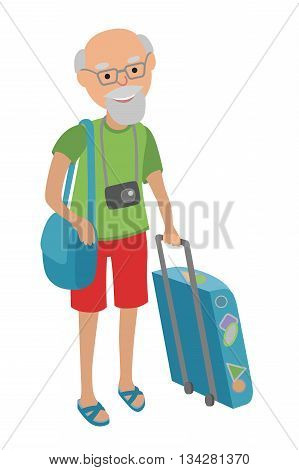Illustration of a male senior citizen dragging a Suitcase. Illustration of elderly man on traveling isolated on white background.