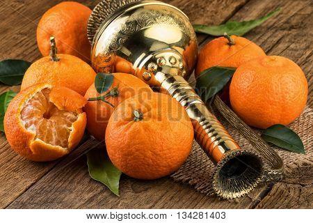 Fresh Tangerines on wood. Oriental Still Life.