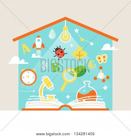 Open Book and School Subjects Symbols. Home Schooling Education Concept Vector Illustration