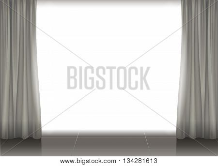Brightly lit stage theater or a cinema screen with muted gray brown curtains, white background for writing