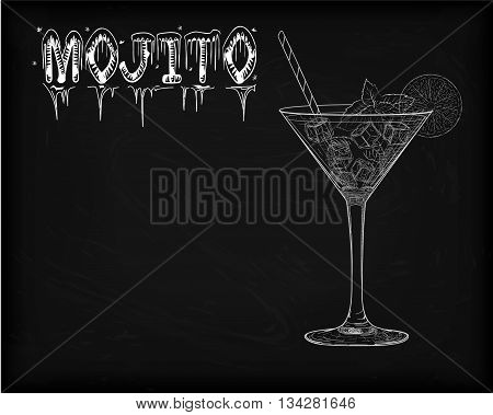 Nice Mojito Of Ice Cold Glass On A Black Background. Soda With White Rum, Mint And Lime Diluted With