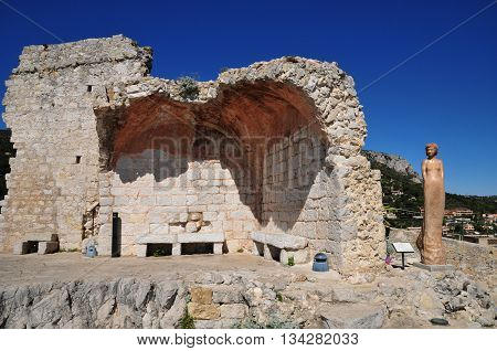 Eze France - april 19 2016 : ruin of the castle
