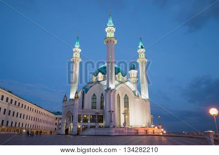 KAZAN, RUSSIA - APRIL 30, 2016: A view of the Kul-Sharif mosque, spring night. Religious landmark of the city Kazan, Tatarstan