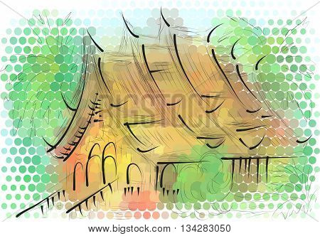 luang prabang. abstract illustration of temple on multicolor background