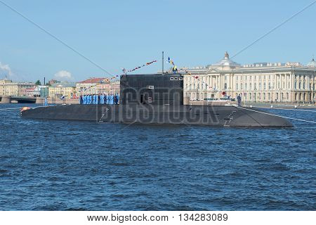 SAINT PETERSBURG, RUSSIA - JULY 25, 2015: Diesel submarine
