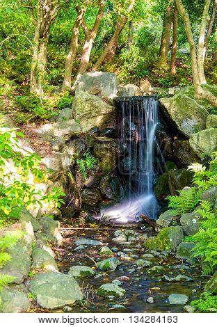 Waterfall in Maruyama Park in Kyoto, Japan
