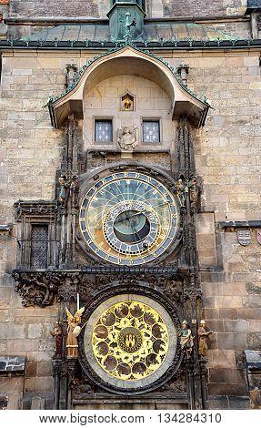old astronomical clock in Prague, Czech Republic, Europe