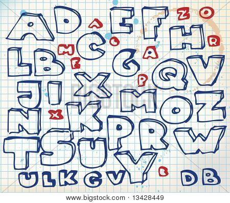 Alfabeto de mão doodle desenhado em papel quadriculado