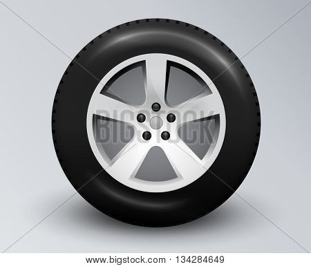 Realistic car wheel with allow rim. Editable vector illustration.
