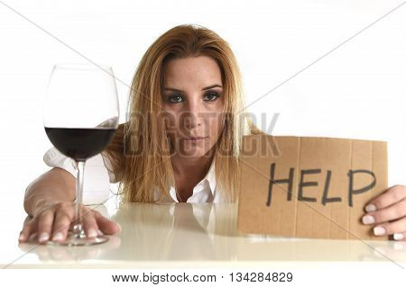 drunk alcoholic blond woman drinking red wine glass asking for help holding message board depressed wasted and sad isolated on white background in alcohol abuse and housewife alcoholism