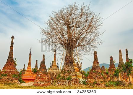 Buddhist temple Sankar. Shan state. Myanmar.