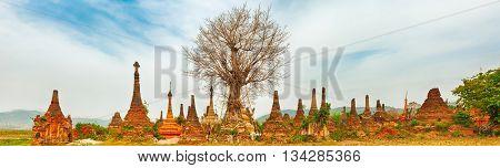 Buddhist temple Sankar. Shan state. Myanmar. Panorama