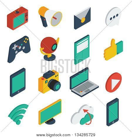 Media isometric icons set with tv megaphone webcam laptop wi-fi blogging data cloud isolated vector illustration