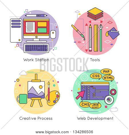 Four isolated round web design line icon set on work station tools creative process and web development themes vector illustration