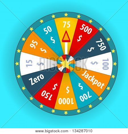 Happy colorful wheel of fortune. vector Illustration. EPS10