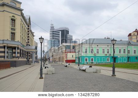 KAZAN, RUSSIA - MAY 03, 2016: Tourist Petersburg street, overcast autumn day. The tourist landmark of the city Kazan, Tatarstan