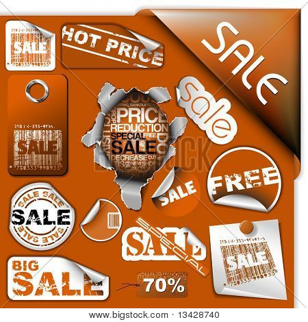 Set of brown discount tickets, labels, stamps, stickers, corners, tags (vector)