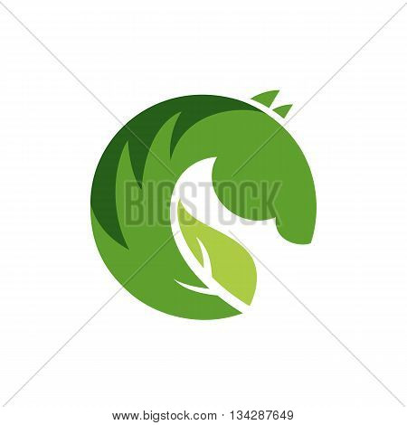 Vector sign or logo green horse. Illustration isolated on white background.