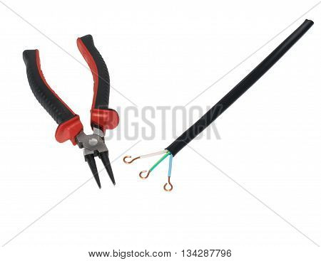 Electric Cable And Round Pliers