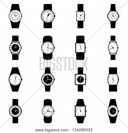 Set of wristwatches on white background, vector illustration