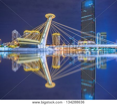 nightview of tianjin downtown district,china.