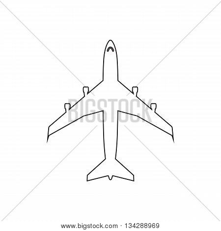 Airplanes top flat black linear icon on white background. Vector EPS10