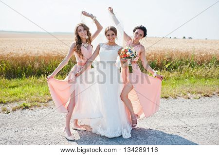 Having Fun Bride With Two Bridesmaids At Rose Dresses
