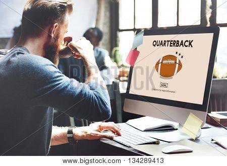 American Football Quarterback Player Team Concept