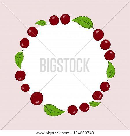 Vector hand drawn cherries label. Cherries circle menu recipe design.
