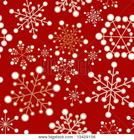 Red and golden christmas seamless pattern / texture with snowflakes