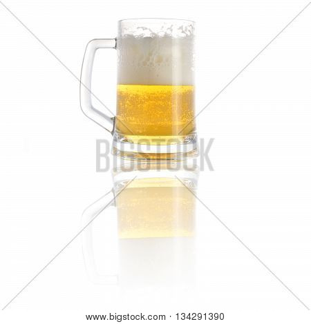beer in mug close up on white