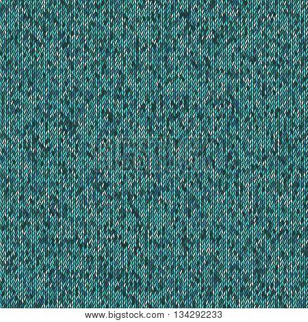Christmas Sweater Design. Seamless teal Knitting Pattern. Vector illustration EPS10