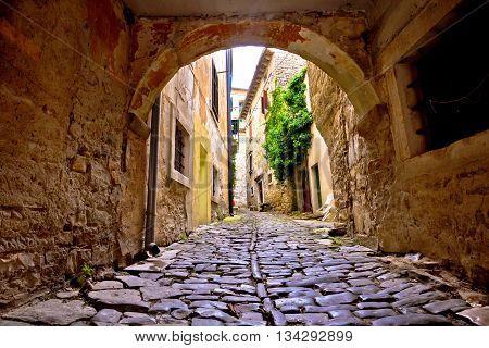 Stone town of Groznjan old street Istria Croatia