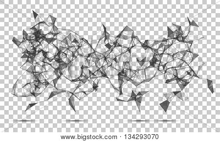 Abstract polygonal wireframe mesh space futuristic background. Digital connected lines and dots technology style. Vector EPS10
