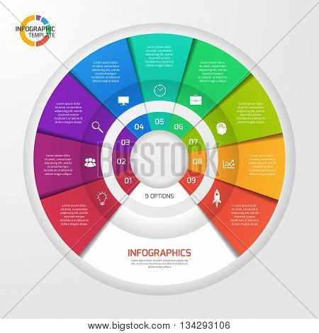 Vector circle infographic template for graphs charts diagrams. Pie chart concept with 9 options parts steps processes.