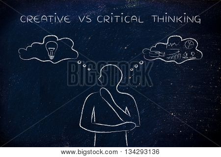 Creative Vs Critical Thinking, Man With Contrasting Thought Bubbles