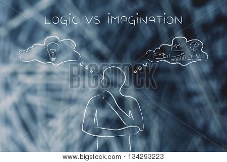 Logic Vs Imagination, Man With Contrasting Thought Bubbles
