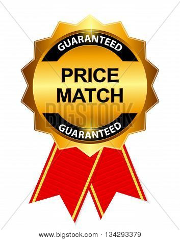 Gold Label Price Match. Vector Illustration EPS10