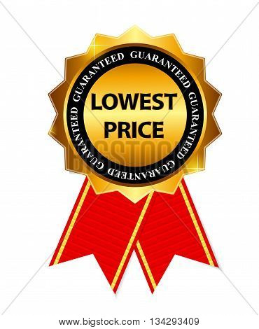 Lowest Price Guarantee Gold Label Sign Template Vector Illustration EPS10