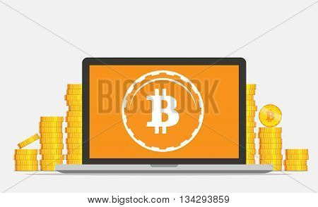 Bitcoin mining equipment. Digital Bitcoin. Golden coin with Bitcoin symbol in 'electronic' environment. Flat isometric online mining bitcoin concept.