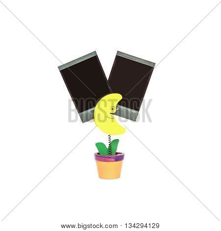 Closeup clamp photo in yellow moon shape in flowerpot with black blank film isolated on white background with clipping path