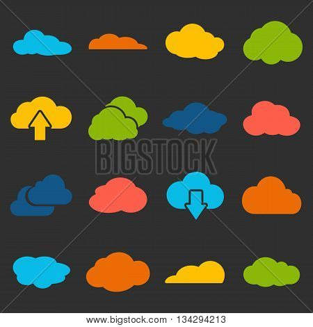 Cloud shapes collection. Cloud icons for the weather forecast web interface or cloud storage applications cloud computing web and app. Vector design elements on black background
