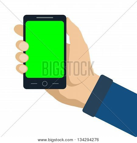 Smartphone with green blank screen in human hand. Flat style vector illustration isolated on white. Chroma key.