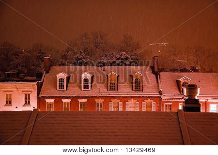 Nightime Snow Georgetown Rooftops In Snowstorm Washington Dc