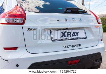 SAMARA RUSSIA - JUNE 12 2016: Back part of the New Russian Car LADA XRAY. Lada is a Russian automobile manufacturer